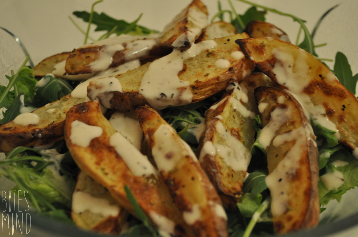 Rosemary Baked Potato Wedges Salad With Tahini Dressing
